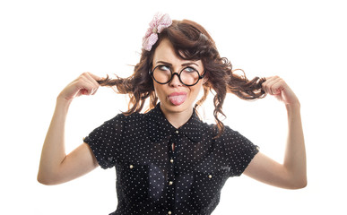 Funny expressive woman sticking her tongue out