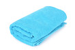 Leinwanddruck Bild - Blue towel isolated on white background