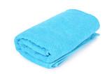 Blue towel isolated on white background