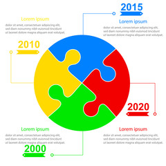 Infographics report templates in sphere of jigsaw puzzle element