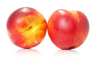 juicy nectarines isolated on the white background