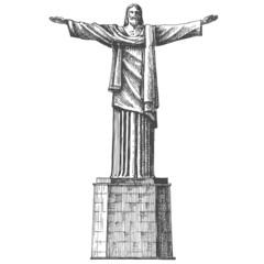 Brazil. Rio de Janeiro. Statue of Jesus Christ on a white