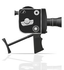 old retro vintage movie video camera vector illustration