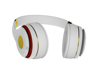 white with gold decor exclusive headphones for music.