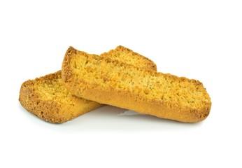 Italian bruschetta crispbread sticks on a white background