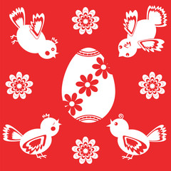 White Easter icons on red background