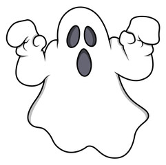 Cartoon Ghost - Halloween Vector Illustration