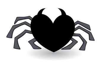 Evil Heart Shaped Spider - Halloween Vector Illustration