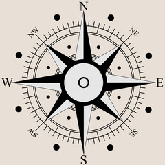Wind rose compass flat symbols. Vector illustration