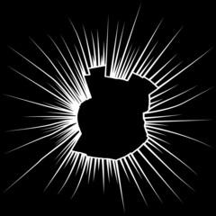 Radial cracks on broken black glass. Vector illustration
