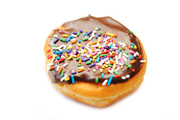 Chocolate Cream Donut with Colorful Sprinkles