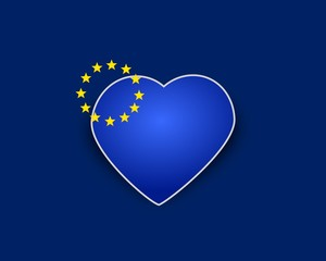 Heart flag of European Union