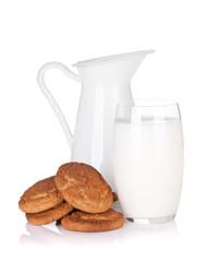 Milk jug, glass and cookies