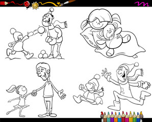 family coloring page cartoon set