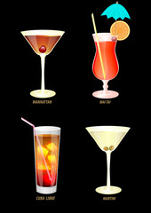 illustration of popular cocktails on a dark background.