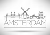 Fototapety Amsterdam City Line Silhouette Typographic Design
