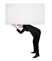 Business man carry empty board