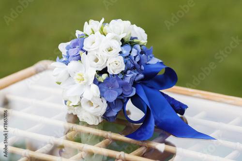 wedding bouquet of hydrangea, eucharis and eustoma flowers