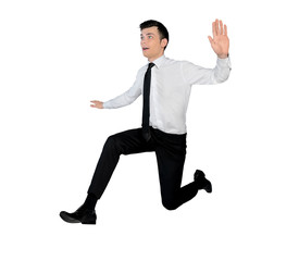 Business man jump side