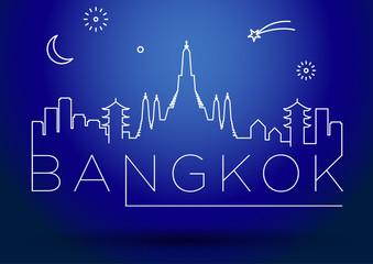 Bangkok City Line Silhouette Typographic Design