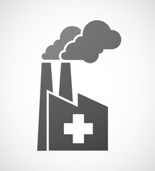 Industrial factory icon with a pharmacy sign