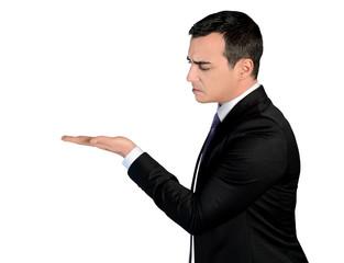 Business man presenting something suspicious