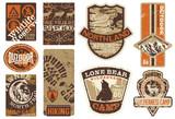 Vector set of wildlife adventure grunge labels