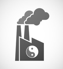 Industrial factory icon with a ying yang