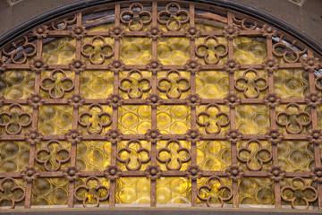 medieval castle yellow glass door detail
