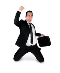 Business man winner hand up