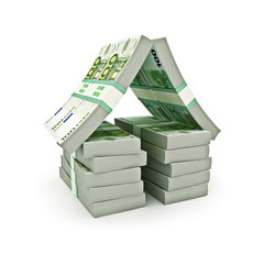 Stack of Euro money in the shape of a house