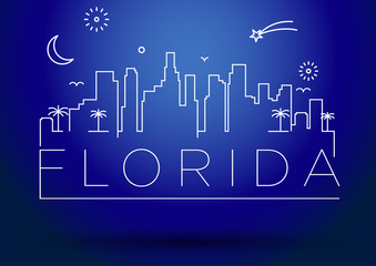 Florida City Line Silhouette Typographic Design