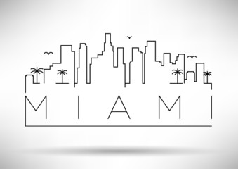 Miami City Line Silhouette Typographic Design