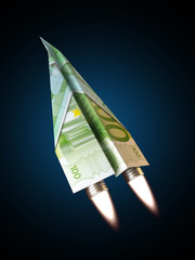 Money jet,100 Euro concept for rising financial costs