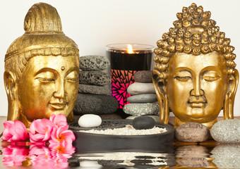 couple de bouddhas dorés