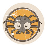 Grunge Funny Spider - Halloween Vector Illustration