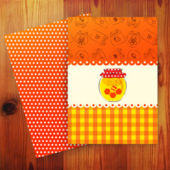 Template of card with honey. Vector illustration.