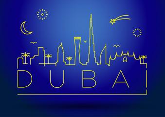 Dubai City Line Silhouette Typographic Design