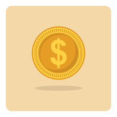 Vector of flat icon, dollar coin on isolated background