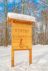 Holzschild Wintereinbruch