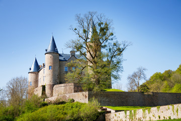 Summer view of Veves Castle during day