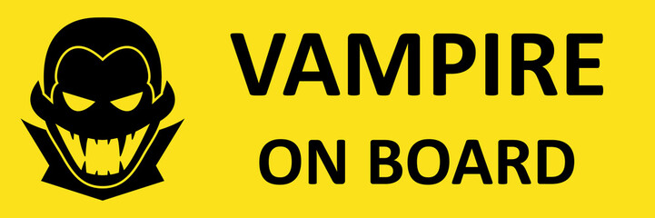 Vector bumper sticker with vampire. Format eps 10