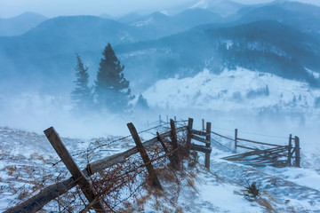 Snowstorm. Winter in the mountains