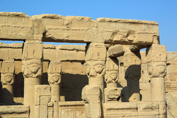 Ancient Egyptian Hathor sculptures in temple of Dendera