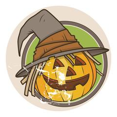 Old Retro Jack-o'-Lantern - Halloween Vector Illustration