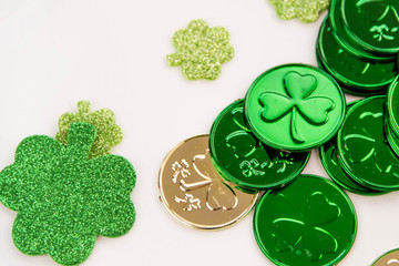 St Patricks Day decorations - gold coins and shamrocks