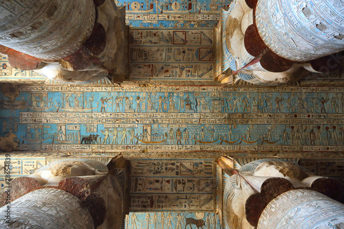 Egypt Interior of ancient egypt temple in Dendera