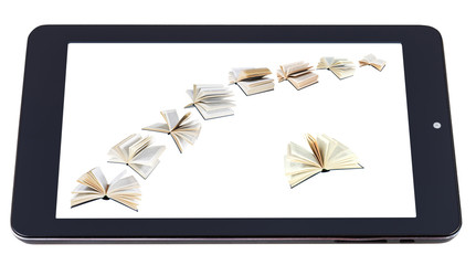 flying books on display of tablet pc isolated