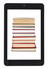 stack of books on screen of tablet pc isolated