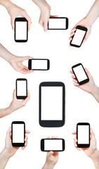 set of hands holding smart phones
